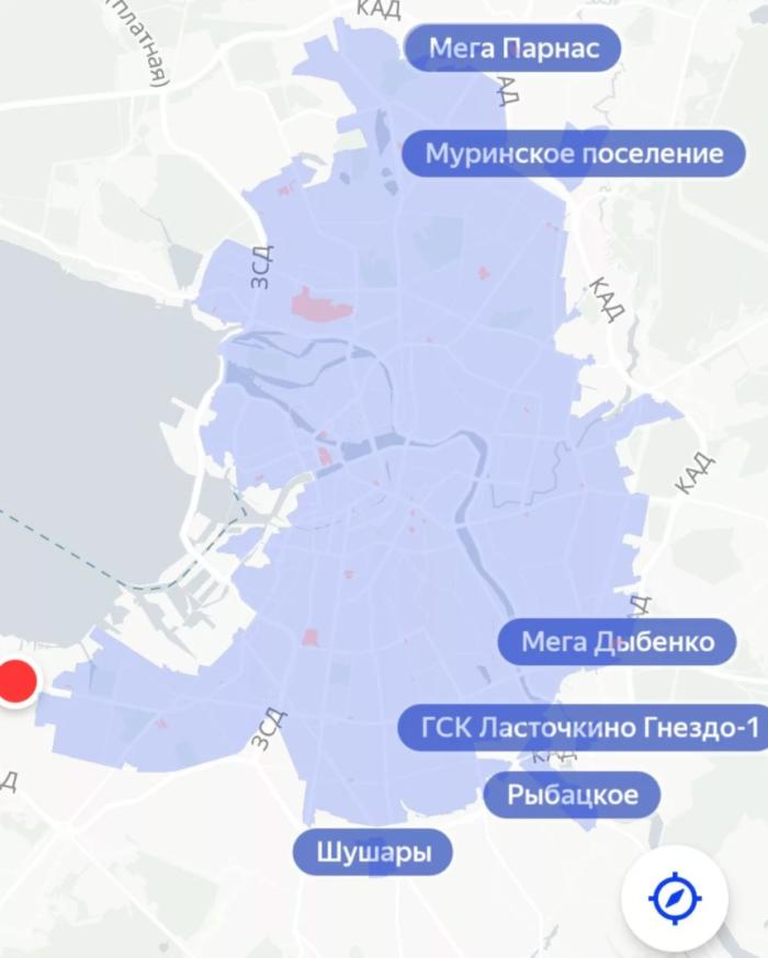 Зона завершения аренды в СПб Яндекс.Драйв